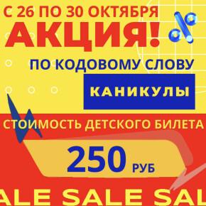 Акция! Детский билет всего за 250 руб.